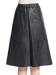 Saks Fifth Avenue A Line Faux Leather Skirt Black
