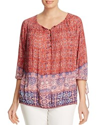 Lucky Brand Plus Tapestry Print Peasant Blouse Red Multi