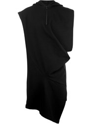 Moohong Sleeveless Asymmetric Hoodie Black
