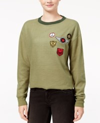 Rebellious One Juniors' Military Patches Sweatshirt Olive Fatigue