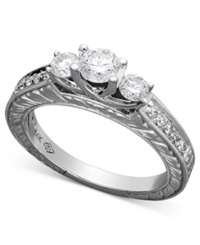 Macy's Three Stone Diamond Engraved Ring In 14K White Gold 3 4 Ct. T.W.
