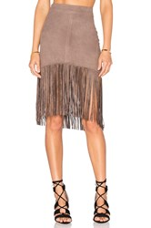 Bishop Young Suede Fringe Skirt Taupe