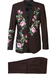 Dolce And Gabbana Classic Floral Applique Suit Brown