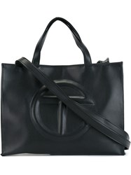 Telfar Logo Embossed Medium Bag Black