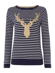 Joules Christmas Intarsia Knit Jumper Navy Stripe