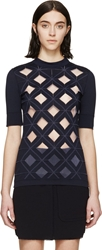 Paco Rabanne Navy Diamond Cut Out Top