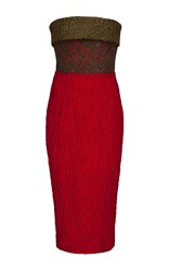 Alex Perry Celesse Cloque And Lace Contrast Strapless Pencil Dress Red