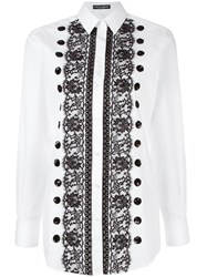 Dolce And Gabbana Lace Sequin Detail Shirt White