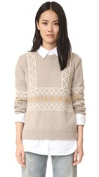 Chinti And Parker Star Border Sweater Oatmeal Cream Gold Lurex
