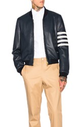 Thom Browne Fitted Deer Skin Varsity Jacket In Blue