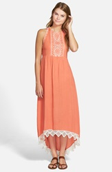 Rip Curl 'Revelation' Open Back High Low Maxi Dress Coral