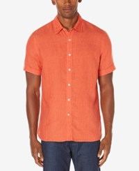 Perry Ellis Men's Chambray Linen Shirt Bright Mineral Red