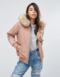 Asos Padded Bomber Jacket With Faux Fur Hood Pink