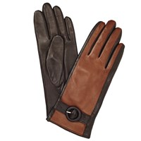John Lewis Leather Contrast Buckle Gloves Chocolate Tan