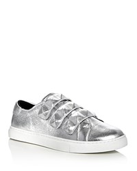 Rebecca Minkoff Becky Metallic Stud Strap Sneakers Silver