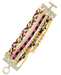 Bar Iii Gold Tone Multicolor Woven Multi Row Toggle Bracelet