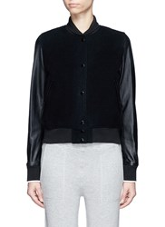 Rag And Bone 'Camden' Leather Sleeve Wool Blend Jacket Black