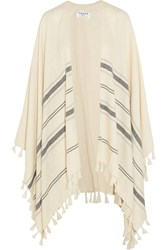 Frame Denim Le Poncho Fringed Striped Alpaca Cape Cream