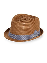 Ben Sherman Paper Straw Fedora Brown