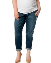 Motherhood Maternity Plus Size Distressed Slim Leg Jeans Dark Wash