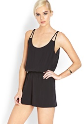 Forever 21 Clear Cut Woven Romper Black