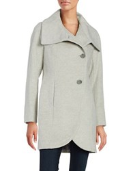 T Tahari Asymmetric Oversized Collar Peacoat Light Grey