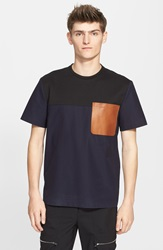 Tim Coppens Colorblock Leather Pocket T Shirt Indigo Black Cognac