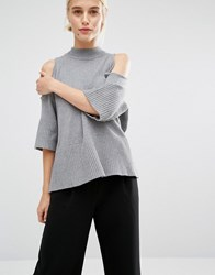 Monki Cold Shoulder Oversized Jumper Grey
