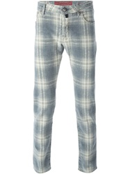 Jacob Cohen Tartan Print Slim Jeans Grey