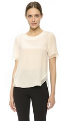 Prabal Gurung Short Sleeve Silk Blouse Ivory