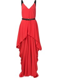 Vera Wang Draped Belted Gown Red