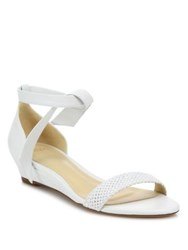 Alexandre Birman Atenah Woven Leather Demi Wedge Sandals White