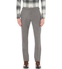 Tom Ford Regular Fit Straight Flannel Wool Trousers Mid Grey