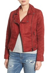 Steve Madden Women's Faux Sude Moto Jacket Rusty Red