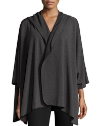 Neiman Marcus Hooded Dolman Poncho Jacket Black
