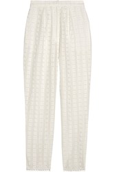 Zimmermann Zephyr Broderie Anglaise Cotton And Silk Blend Tapered Pants Ivory