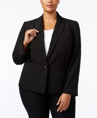 Kasper Plus Size Crepe One Button Jacket Black
