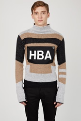 Hood By Air Logo Striped Knit Sweater Brown Grey Black
