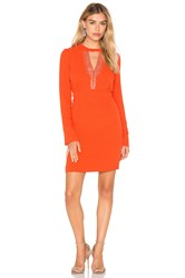 Ikks Paris Long Sleeve Keyhole Dress Orange
