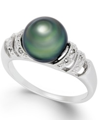 Macy's Tahitian Pearl And Diamond Accent Ring In Sterling Silver 9Mm