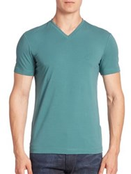 Armani Collezioni Cotton Blend V Neck Tee Aqua Blue