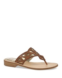 Sam Edelman Flat Thong Sandals Treva Cut Out Oxford Brown Molton Pewter