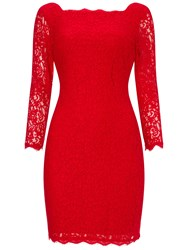 Adrianna Papell Three Quarter Sleeve Lace Cocktail Dress Red
