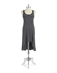 Marc New York Performance Striped Hi Lo Dress Black White