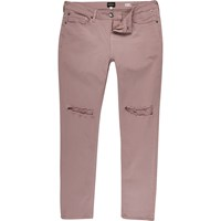 River Island Mens Pink Ripped Sid Skinny Jeans