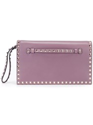 Valentino 'Rockstud' Clutch Pink And Purple
