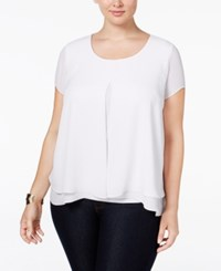 Ny Collection Plus Size Cap Sleeve Flyaway Blouse White Mix Combo