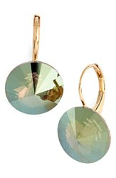 Women's L. Erickson 'Celeste' Round Crystal Drop Earrings Crystal Iridescent Green Gold