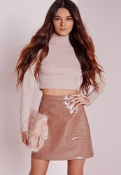 Missguided Croc Faux Leather A Line Skirt Rose Pink Red