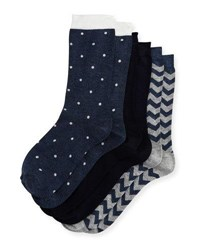 Neiman Marcus Three Pair Sock Set Assorted Navy